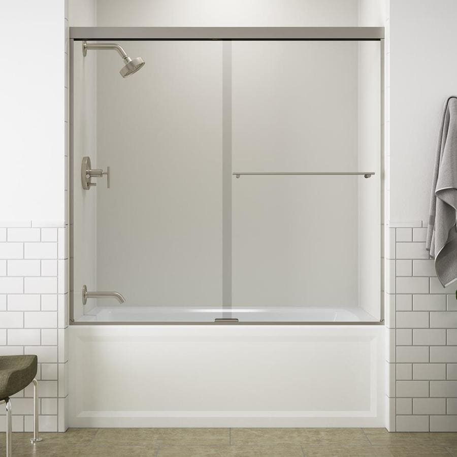 Kohler Revel 59 625 In W X 55 5 H Brushed Nickel Frameless Bathtub Door