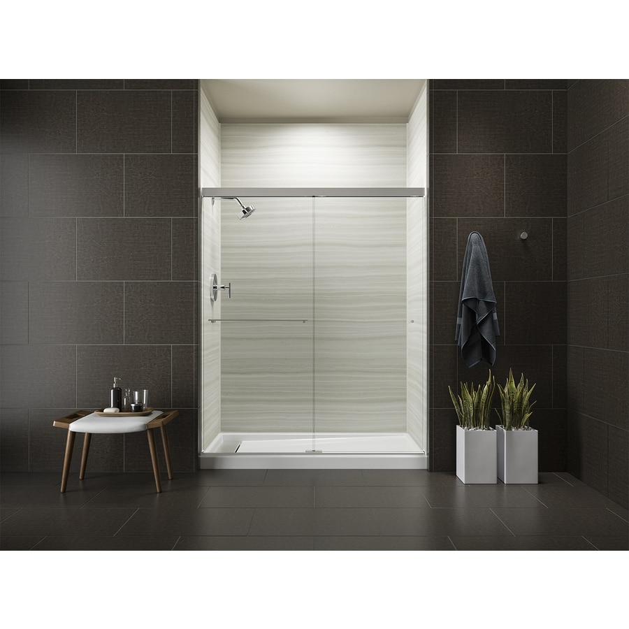 KOHLER Revel 44.625-in to 47.625-in Framed Bright Polished Silver Sliding Shower Door