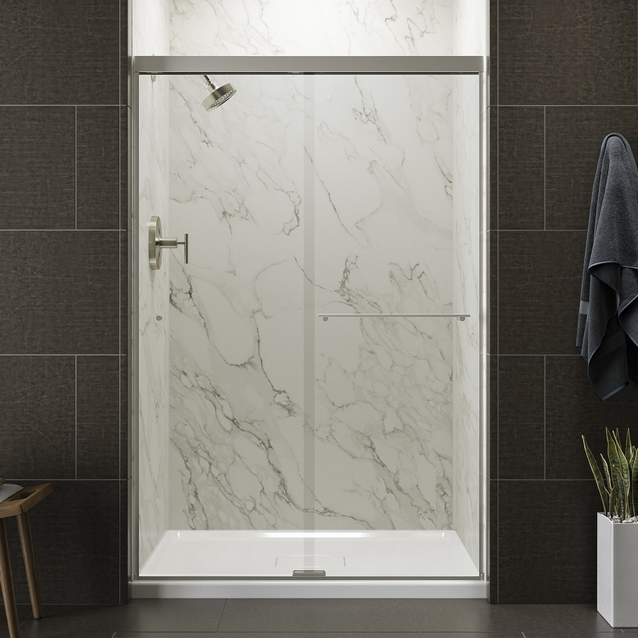KOHLER Revel 44.625-in to 47.625-in W x 70-in H Brushed Nickel Sliding Shower Door