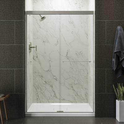 Revel 44 625 In To 47 W Frameless Byp Sliding Anodized Brushed Nickel Shower Door