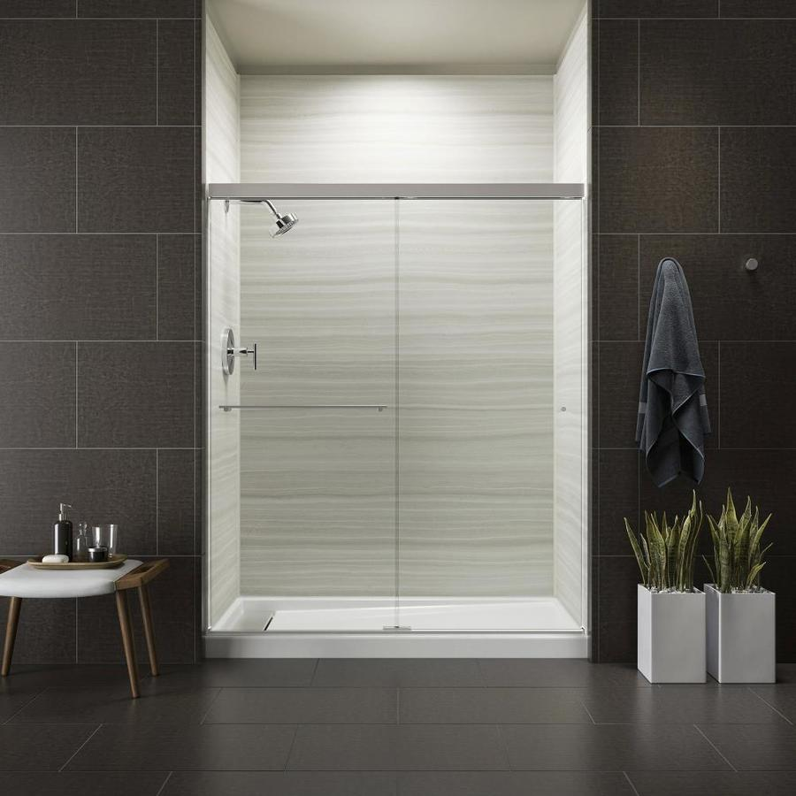 KOHLER Revel 56.625-in to 59.625-in W x 70-in H Bright Polished Silver Sliding Shower Door