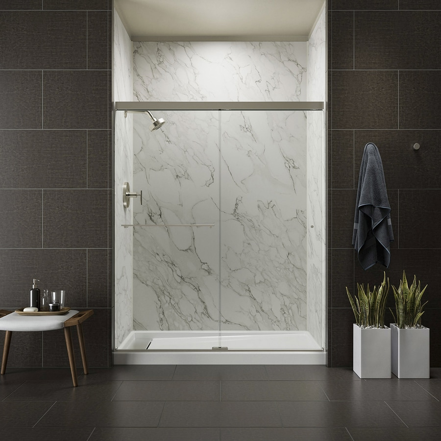 kohler revel 56625in to 59625in frameless anodized brushed nickel sliding shower door