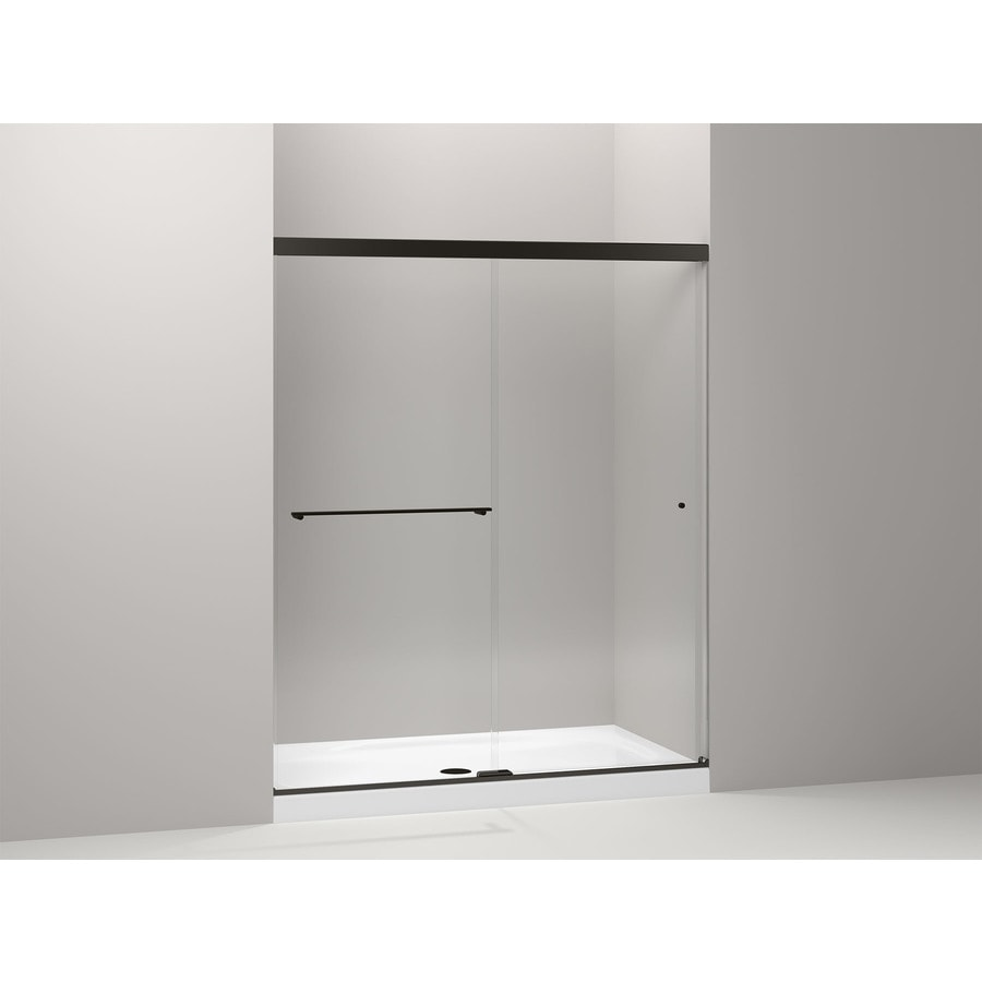KOHLER Revel 56.625-in to 59.625-in Framed Anodized Dark Bronze Sliding Shower Door