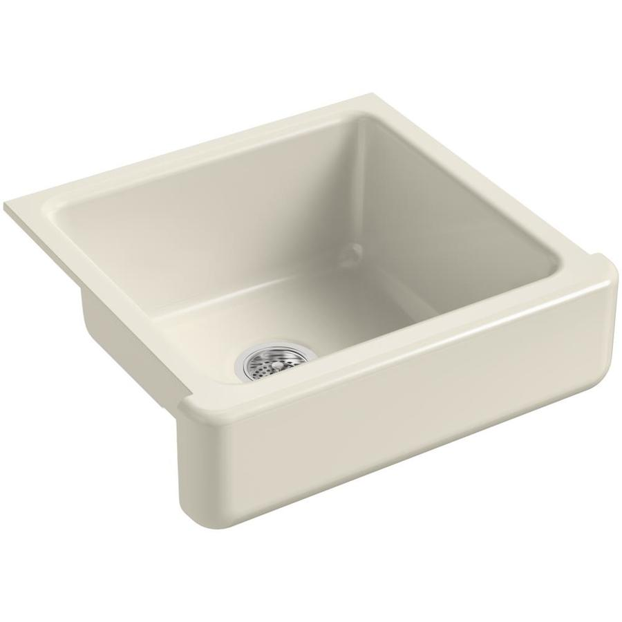 KOHLER Whitehaven 21.56-in x 23.5-in Almond Single-Basin Cast Iron Apron Front/Farmhouse Residential Kitchen Sink