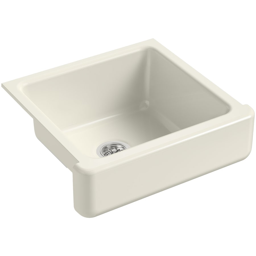 KOHLER Whitehaven 21.56-in x 23.5-in Biscuit Single-Basin Cast Iron Apron Front/Farmhouse Residential Kitchen Sink