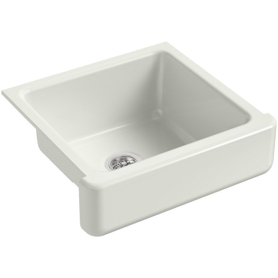 KOHLER Whitehaven 21.56-in x 23.5-in Dune Single-Basin Cast Iron Apron Front/Farmhouse Residential Kitchen Sink