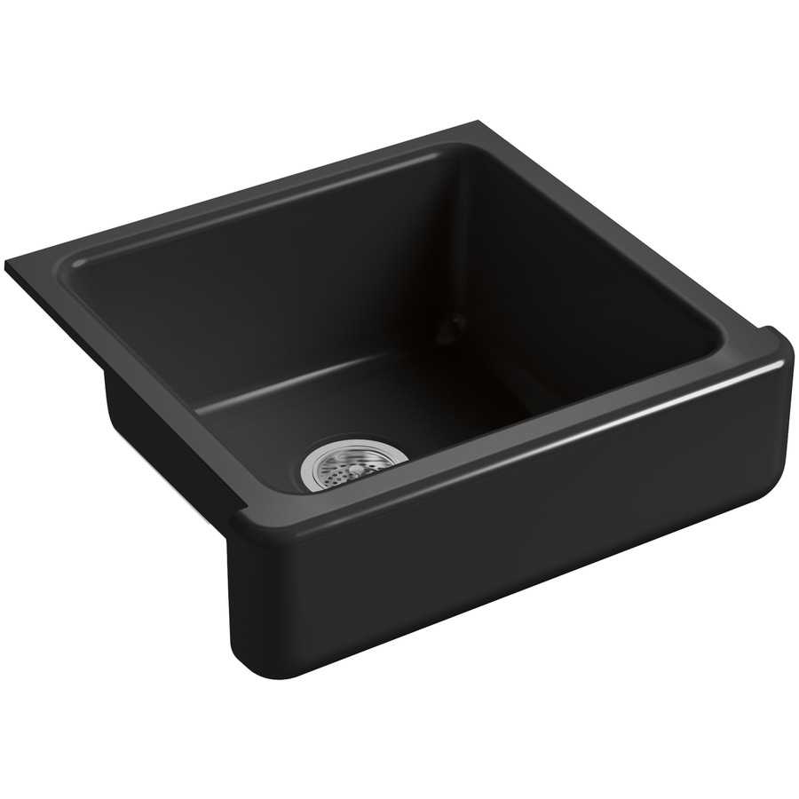 KOHLER Whitehaven 21.56-in x 23.5-in Black Black Single-Basin Cast Iron Apron Front/Farmhouse Residential Kitchen Sink