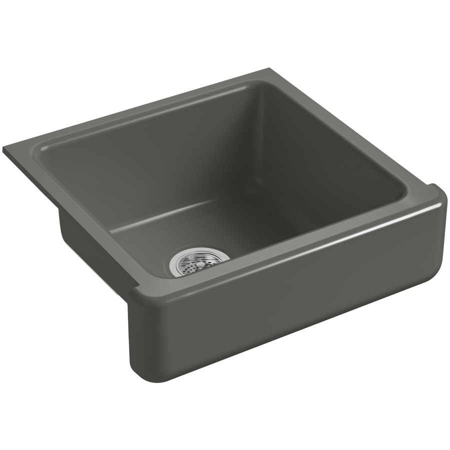 KOHLER Whitehaven 21.56-in x 23.5-in Thunder Grey Single-Basin Cast Iron Apron Front/Farmhouse Residential Kitchen Sink