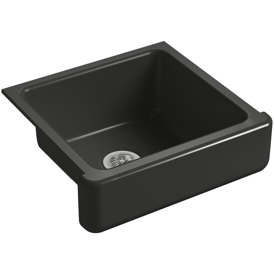 KOHLER Whitehaven 21.56-in x 23.5-in Caviar 1 Cast Iron Apron Front/Farmhouse (Customizable)-Hole Residential Kitchen Sink