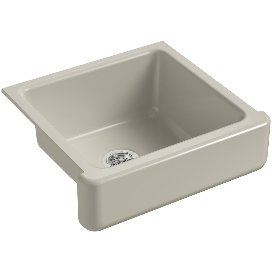 KOHLER Whitehaven 21.56-in x 23.5-in Sandbar Single-Basin Cast Iron Apron Front/Farmhouse Residential Kitchen Sink
