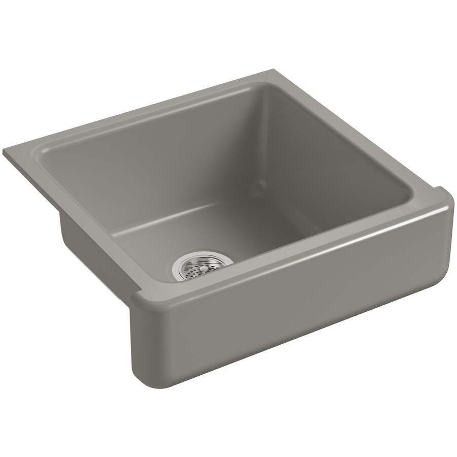 KOHLER Whitehaven 21.56-in x 23.5-in Cashmere Single-Basin Cast Iron Apron Front/Farmhouse Residential Kitchen Sink