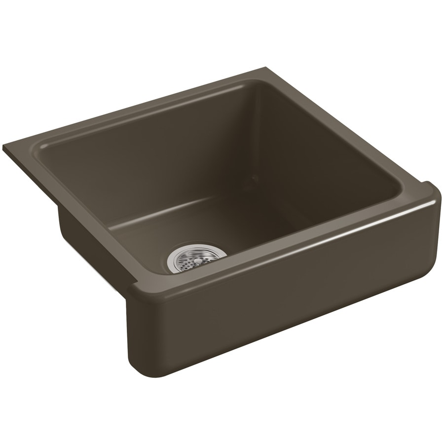 KOHLER Whitehaven 21.56-in x 23.5-in Suede Single-Basin Cast Iron Apron Front/Farmhouse Residential Kitchen Sink