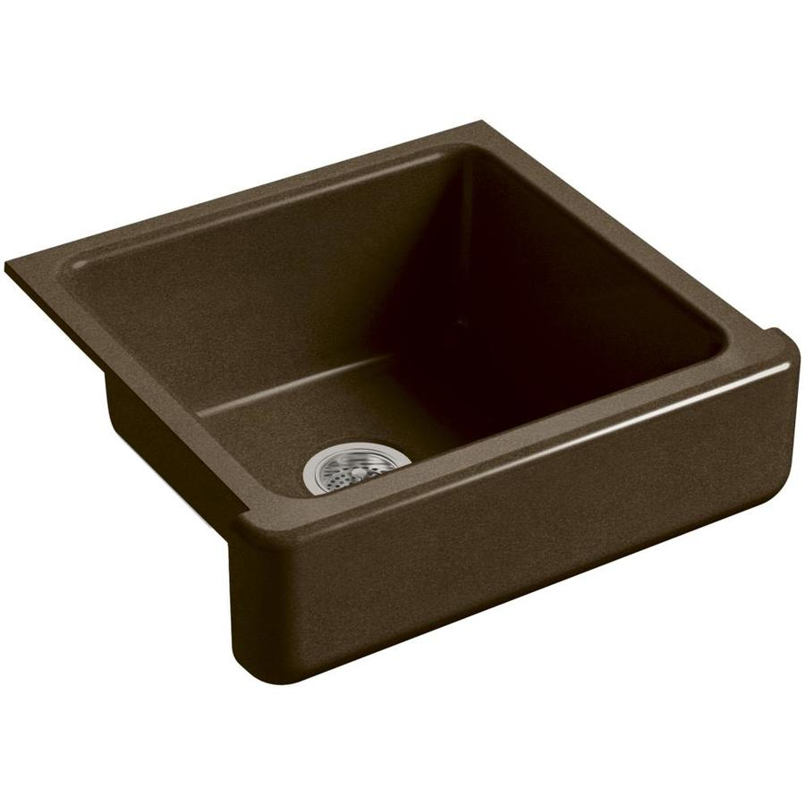 KOHLER Whitehaven 21.56-in x 23.5-in Black N-ft Tan Single-Basin Cast Iron Apron Front/Farmhouse Residential Kitchen Sink
