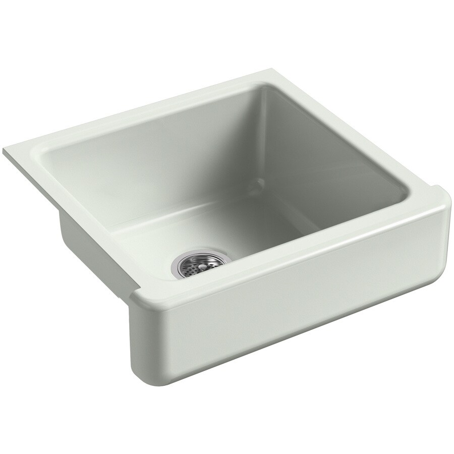 KOHLER Whitehaven 21.56-in x 23.5-in Sea Salt 1 Cast Iron Apron Front/Farmhouse (Customizable)-Hole Residential Kitchen Sink
