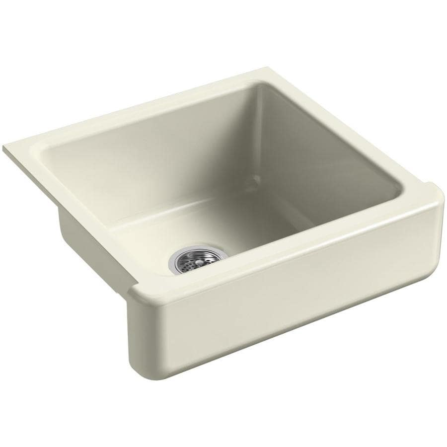 KOHLER Whitehaven 21.56-in x 23.5-in Cane Sugar Single-Basin Cast Iron Apron Front/Farmhouse Residential Kitchen Sink