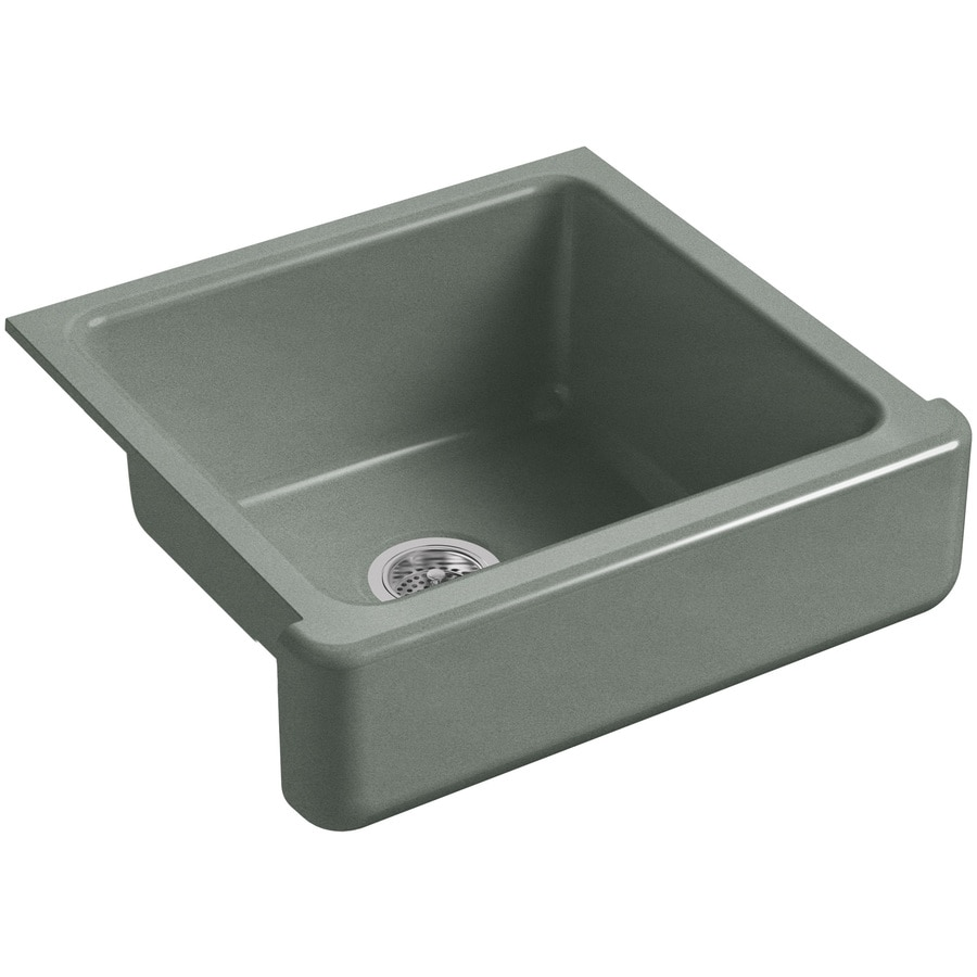 KOHLER Whitehaven 21.56-in x 23.5-in Basalt Single-Basin-Basin Cast Iron Apron Front/Farmhouse (Customizable)-Hole Residential Kitchen Sink