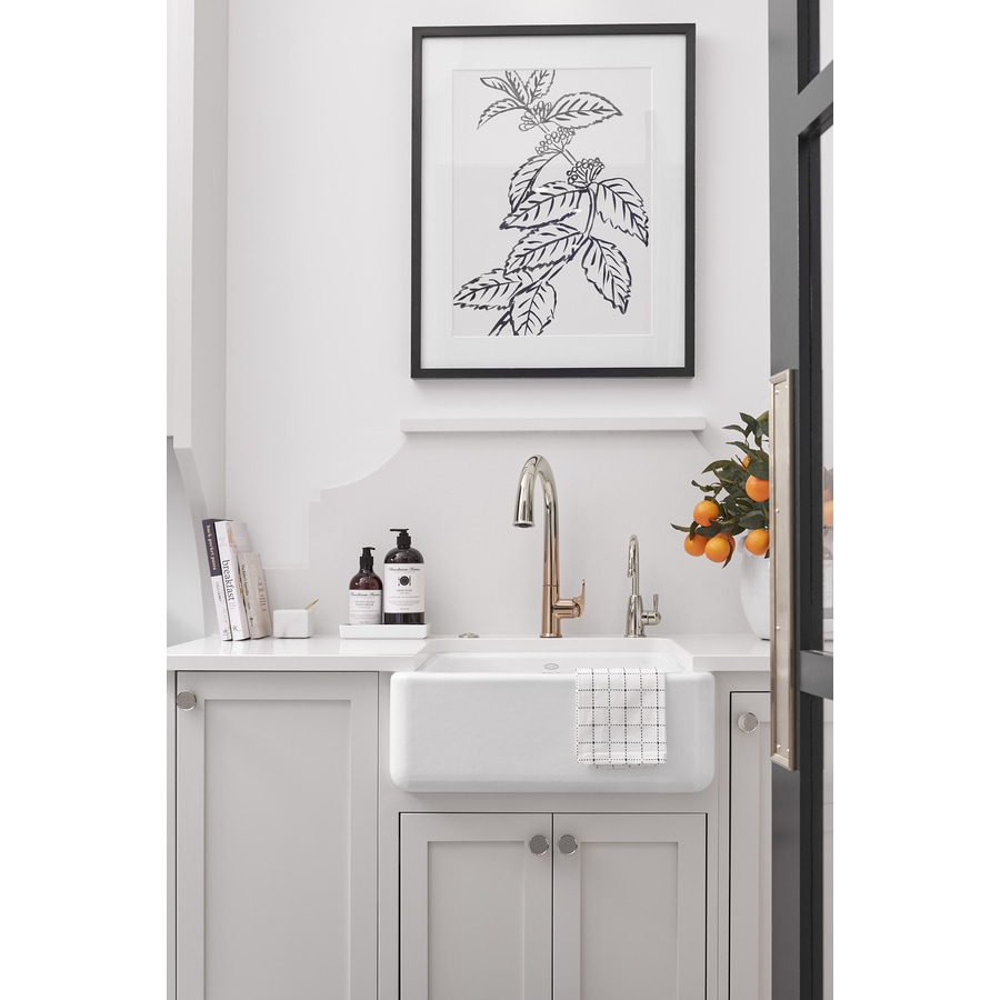 KOHLER Whitehaven 21.56-in x 23.5-in White Single-Basin Cast Iron Apron Front/Farmhouse Residential Kitchen Sink