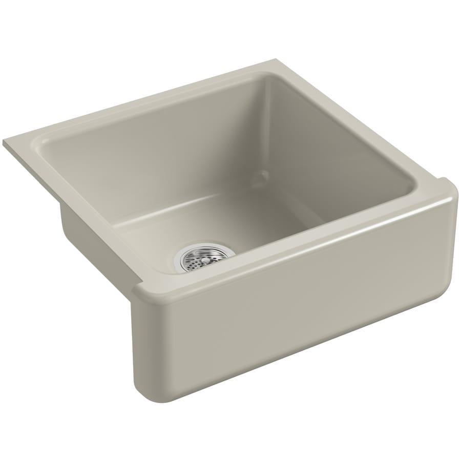 KOHLER Whitehaven 21.56-in x 23.5-in Sandbar Single-Basin Cast Iron Apron Front/Farmhouse Residential Kitchen Sink