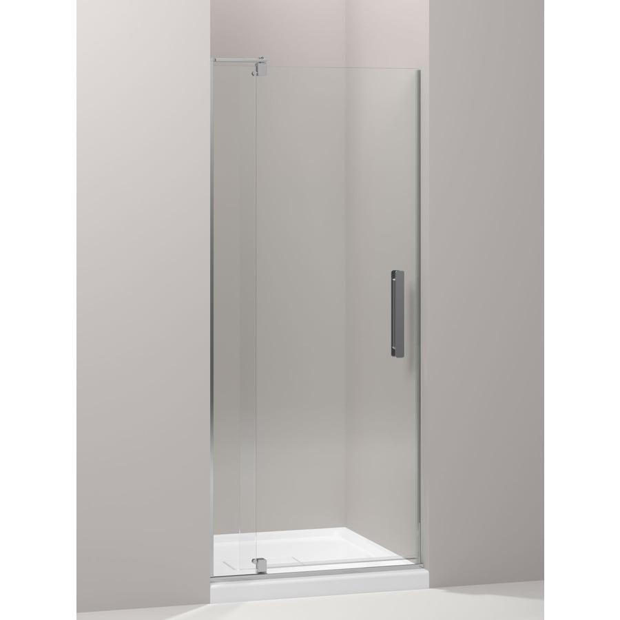 KOHLER Revel 27.25-in to 31.125-in W Frameless Bright Polished Silver Pivot Shower Door
