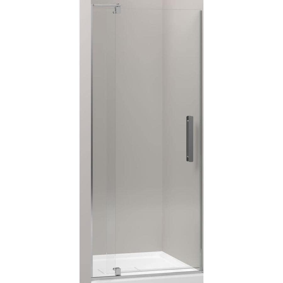KOHLER Revel 27.25-in to 31.125-in Bright Polished Silver Frameless Pivot Shower Door