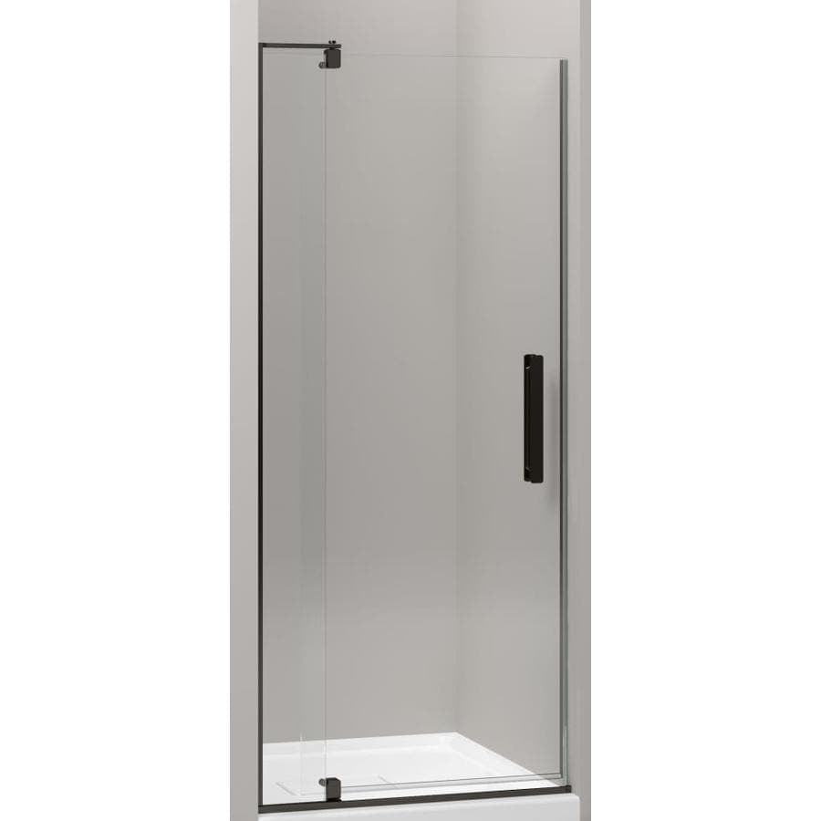 KOHLER Revel 27.25-in to 31.125-in Dark Bronze Frameless Pivot Shower Door