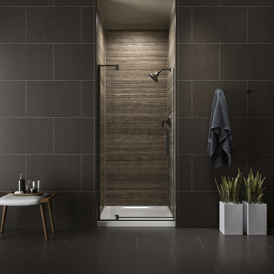 KOHLER Revel 31.125-in to 36-in W Frameless Anodized Dark Bronze Pivot Shower Door