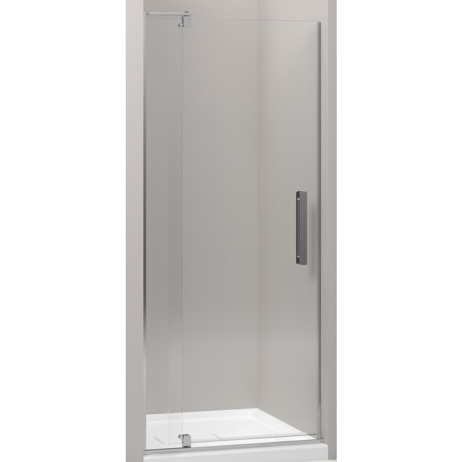 KOHLER Revel 27.25-in to 31.125-in Bright Polished Silver Frameless Pivot Shower Door