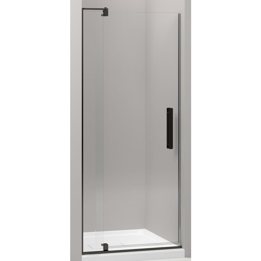 KOHLER Revel 27.312-in to 31.125-in Frameless Dark Bronze Pivot Shower Door