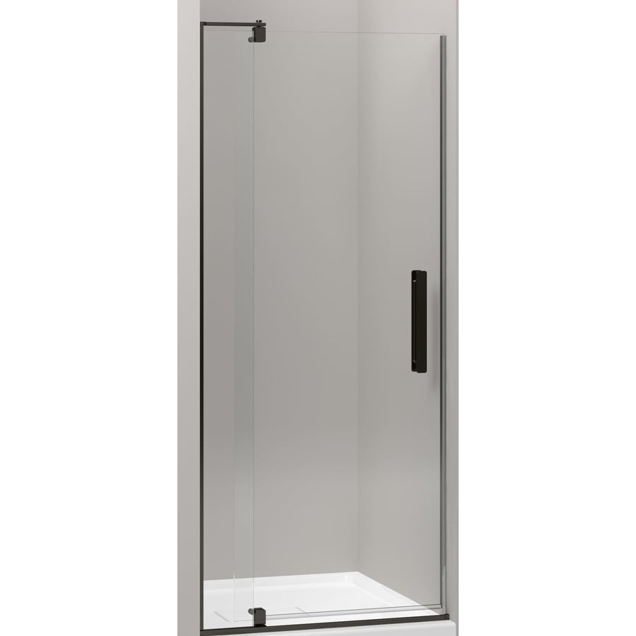 KOHLER Revel 27.25-in to 31.125-in W Frameless Anodized Dark Bronze Pivot Shower Door