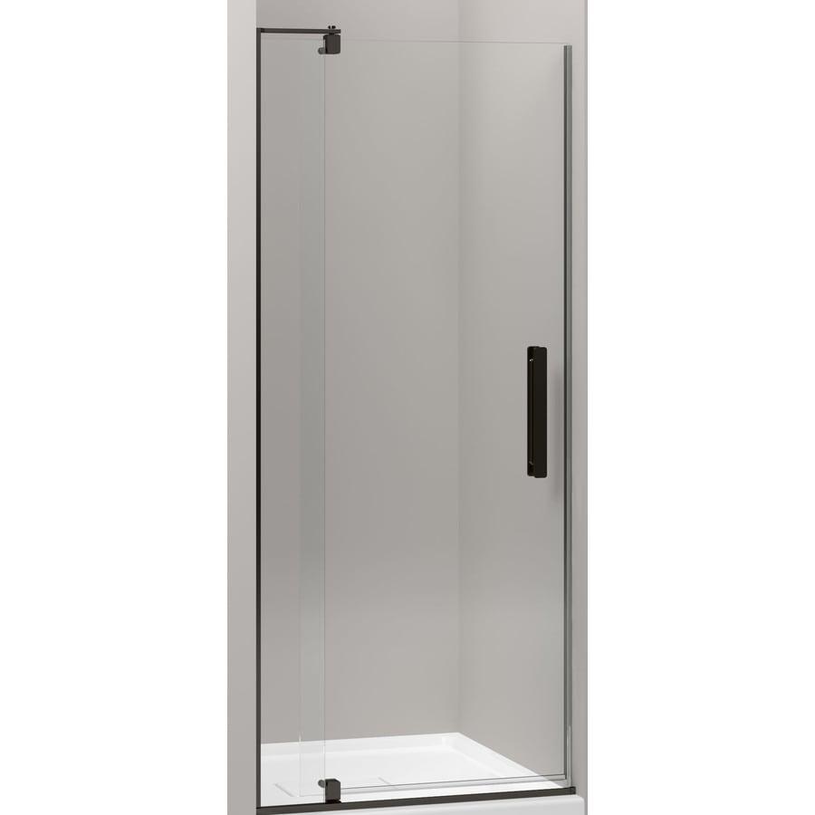 KOHLER Revel 27.25-in to 31.125-in Dark Bronze Frameless Pivot Shower Door