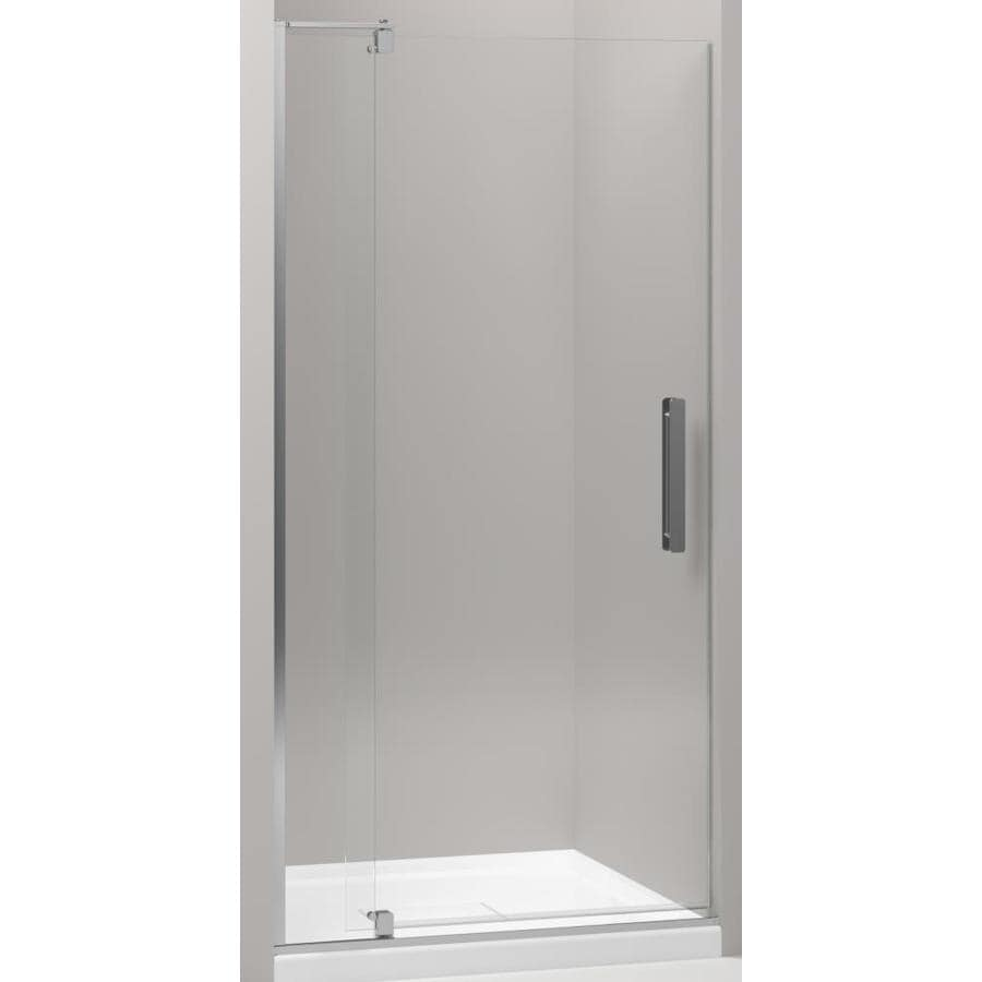 KOHLER Revel 45.25-in to 36-in Frameless Bright Polished Silver Pivot Shower Door