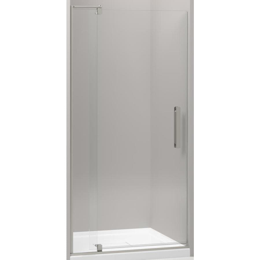 KOHLER Revel 31.125-in to 36-in W Frameless Anodized Brushed Nickel Pivot Shower Door