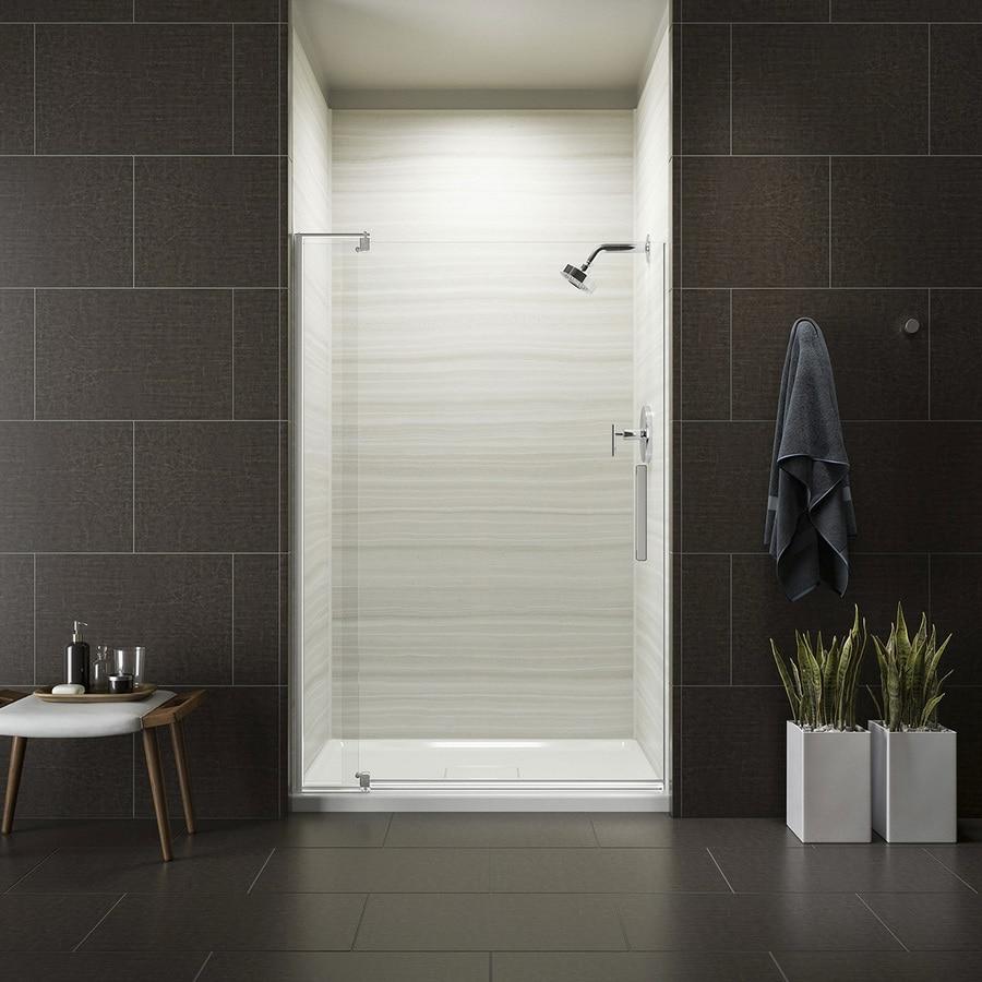 KOHLER Revel 35.125-in to 40-in W Frameless Bright Polished Silver Pivot Shower Door