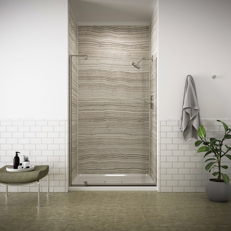 KOHLER Revel 35.125-in to 40-in W Frameless Anodized Brushed Nickel Pivot Shower Door