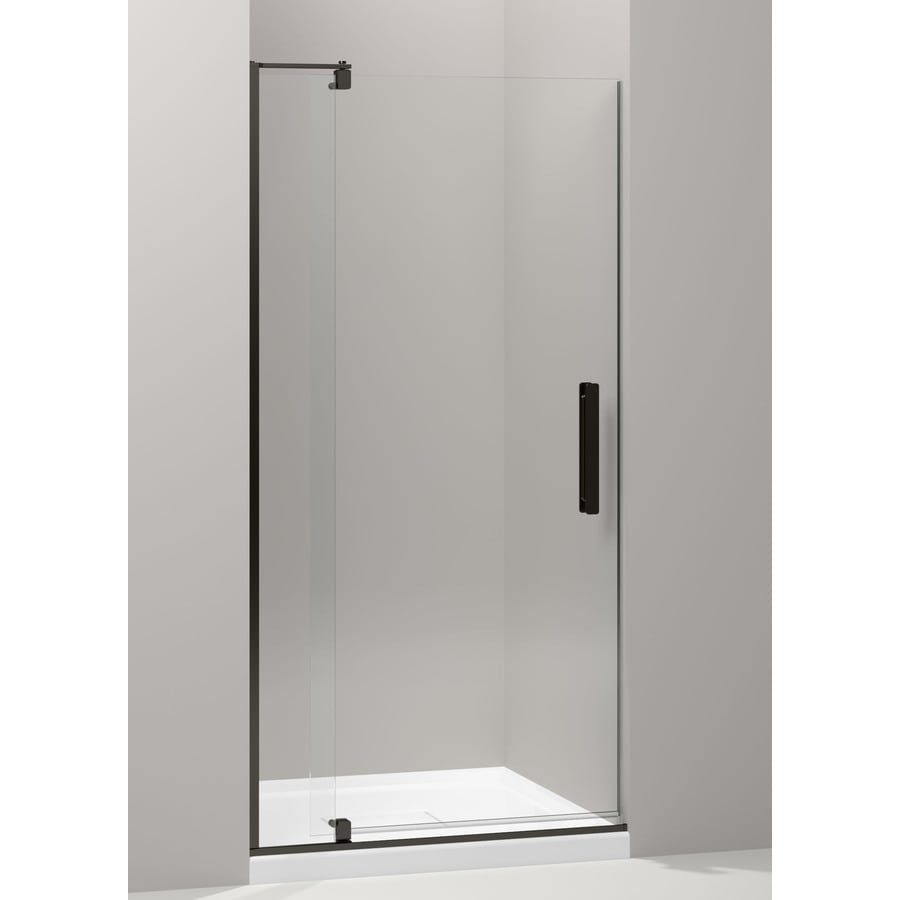 KOHLER Revel 35.125-in to 40-in W Frameless Anodized Dark Bronze Pivot Shower Door