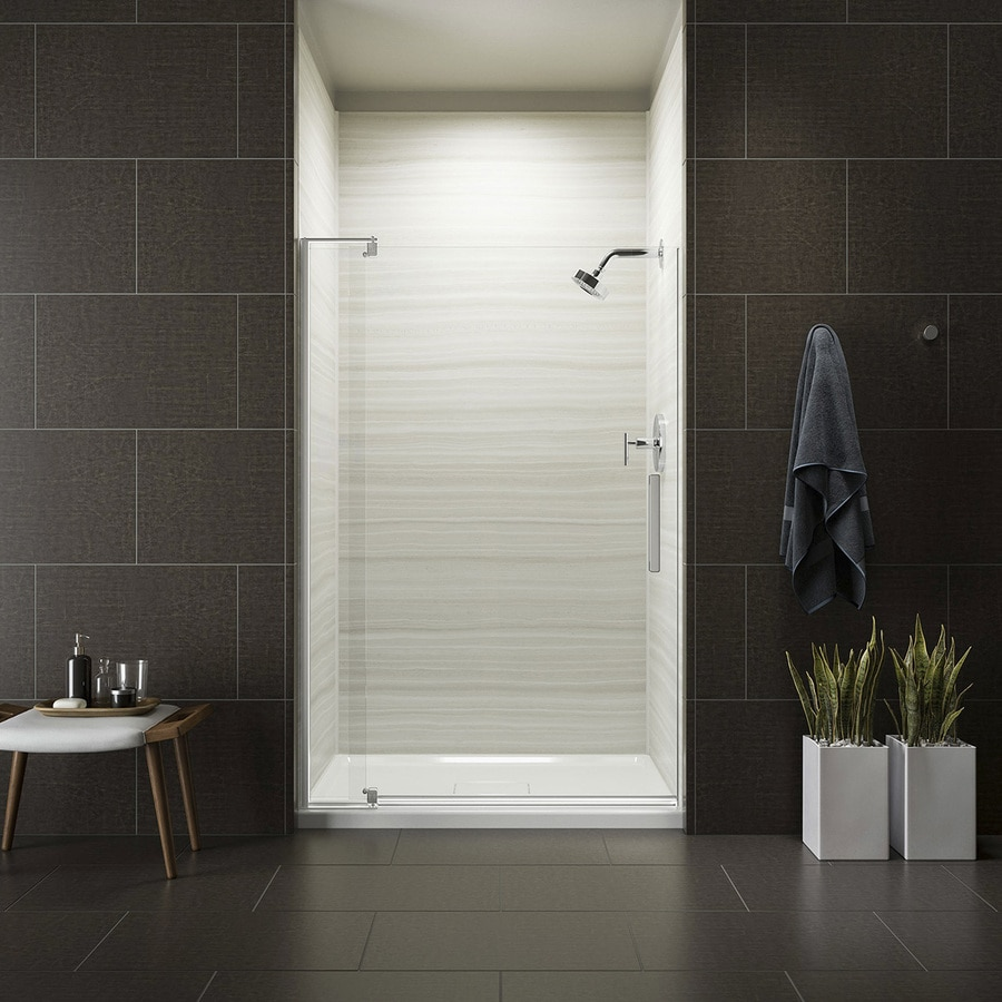 KOHLER Revel 39.125-in to 44-in W Frameless Bright Polished Silver Pivot Shower Door