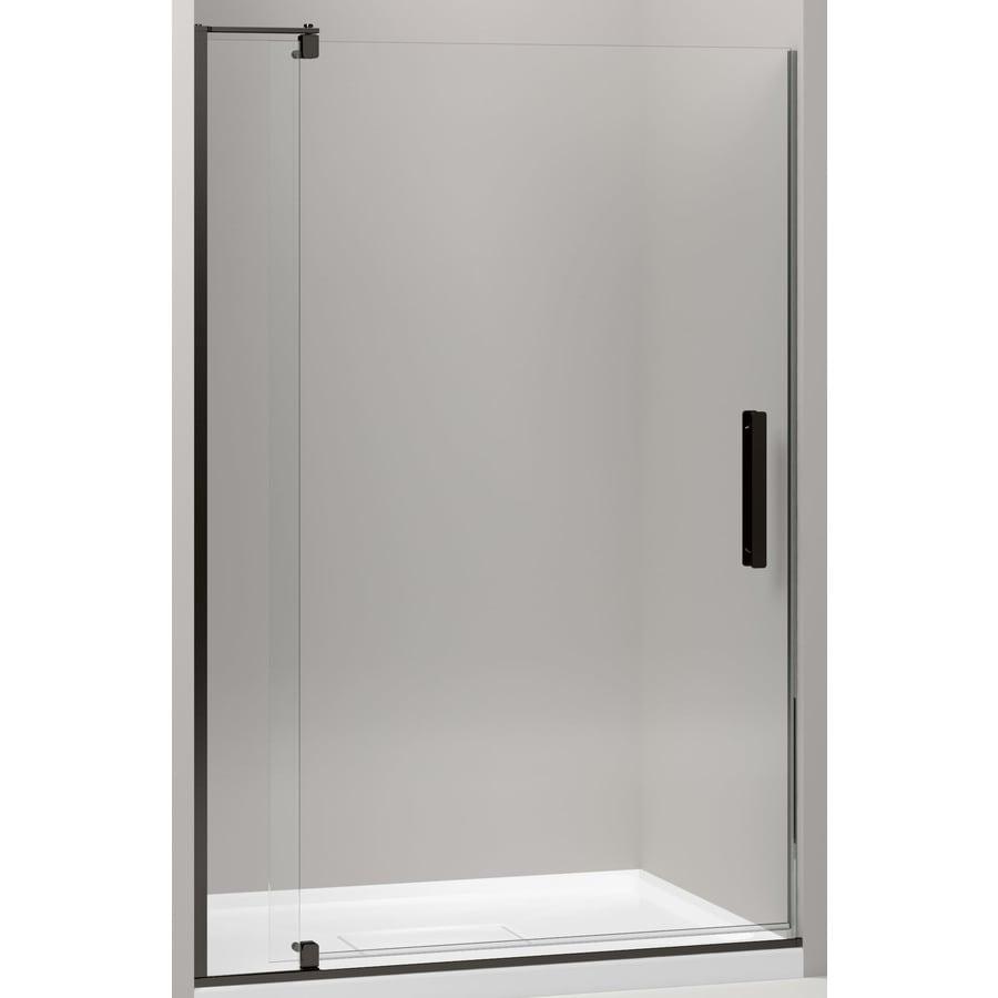 KOHLER Revel 39.125-in to 44-in W Frameless Anodized Dark Bronze Pivot Shower Door