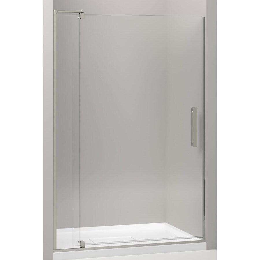 KOHLER Revel 39.125-in to 44-in Frameless Brushed Nickel Pivot Shower Door