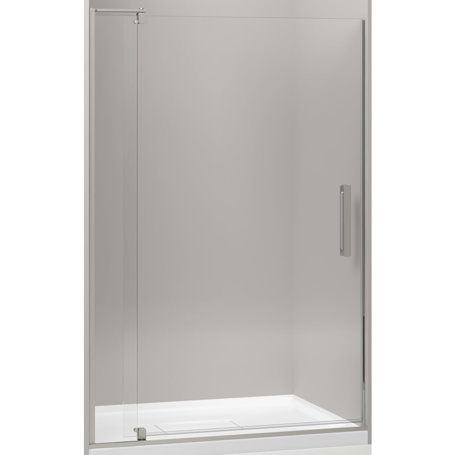 Shop kohler revel 43125 in to 48 in w frameless anodized brushed kohler revel 43125 in to 48 in w frameless anodized brushed nickel pivot shower eventshaper