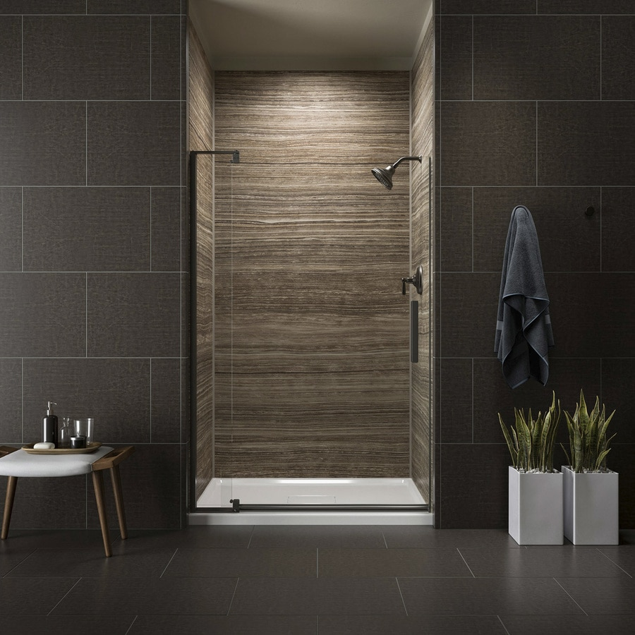 KOHLER Revel 43.125-in to 48-in W Frameless Anodized Dark Bronze Pivot Shower Door