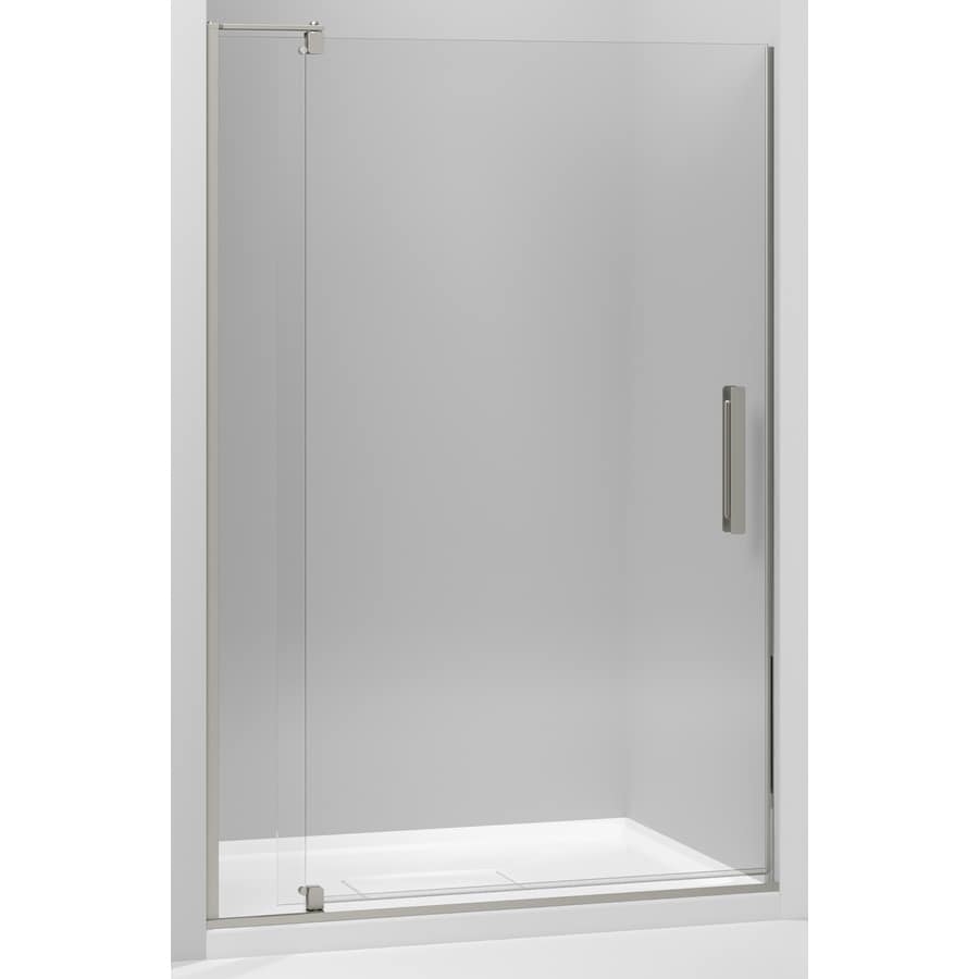 KOHLER Revel 43.125-in to 48-in W Frameless Anodized Brushed Nickel Pivot Shower Door