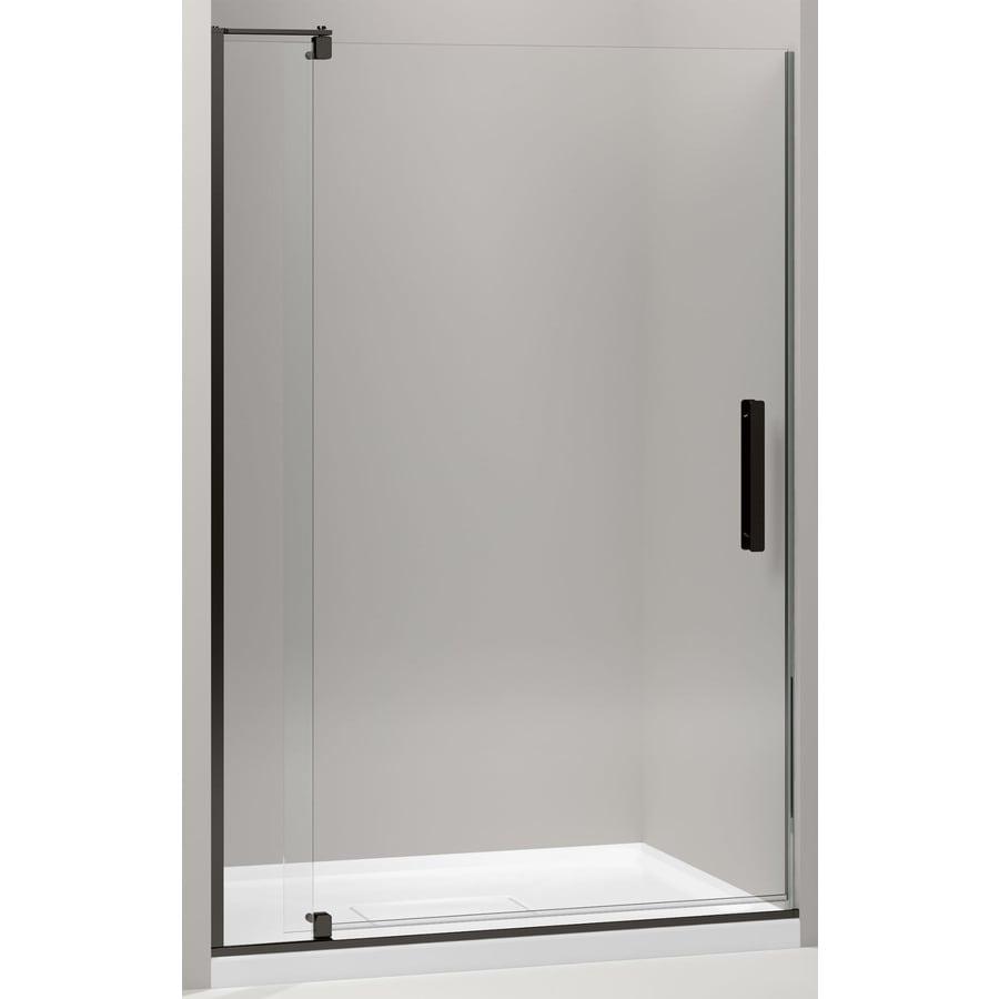 KOHLER Revel 43.125-in to 48-in Dark Bronze Frameless Pivot Shower Door