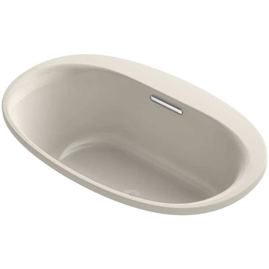 KOHLER Underscore Sandbar Acrylic Oval Drop-in Bathtub with Center Drain (Common: 36-in x 60-in; Actual: 24.375-in x 35.75-in x 60-in)
