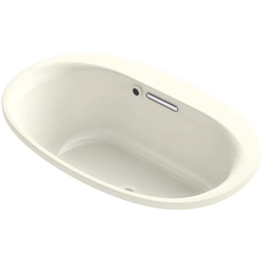 KOHLER Underscore 59.6875-in Biscuit Acrylic Drop-In Bathtub with Center Drain