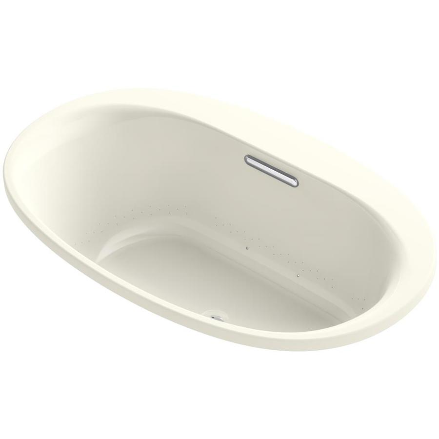 KOHLER Underscore 59.6875-in Biscuit Acrylic Drop-In Air Bath with Front Center Drain