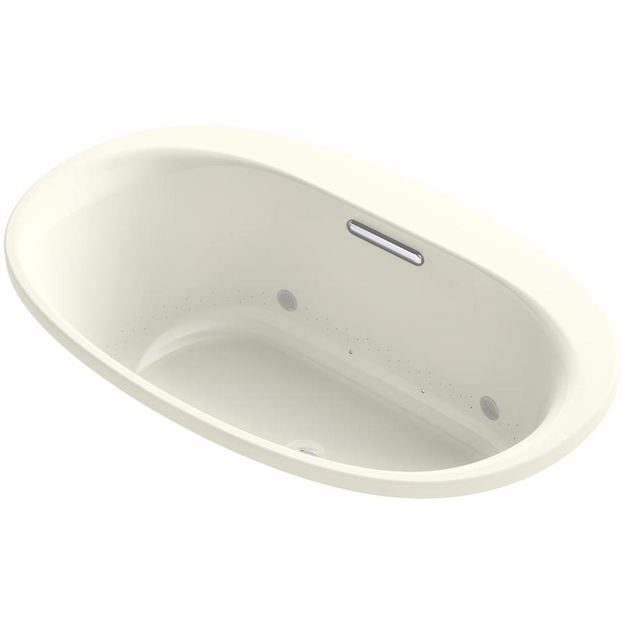 KOHLER Underscore 59.6875-in L x 35.7500-in W x 21.0000-in H Sandbar Acrylic Oval Drop-in Air Bath