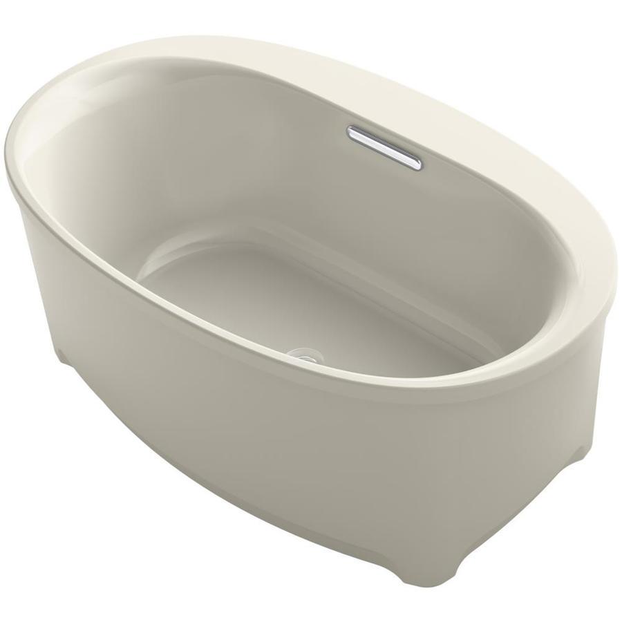 KOHLER Underscore Sandbar Acrylic Oval Freestanding Bathtub with Center Drain (Common: 36-in x 60-in; Actual: 24.375-in x 35.75-in x 60-in)