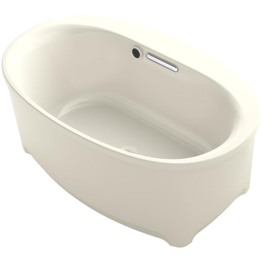 KOHLER Underscore Almond Acrylic Oval Freestanding Bathtub with Center Drain (Common: 36-in x 60-in; Actual: 24.375-in x 36-in x 60-in)