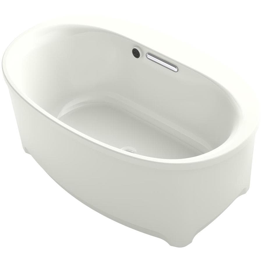 KOHLER Underscore Dune Acrylic Oval Freestanding Bathtub with Center Drain (Common: 36-in x 60-in; Actual: 24.375-in x 36-in x 60-in)