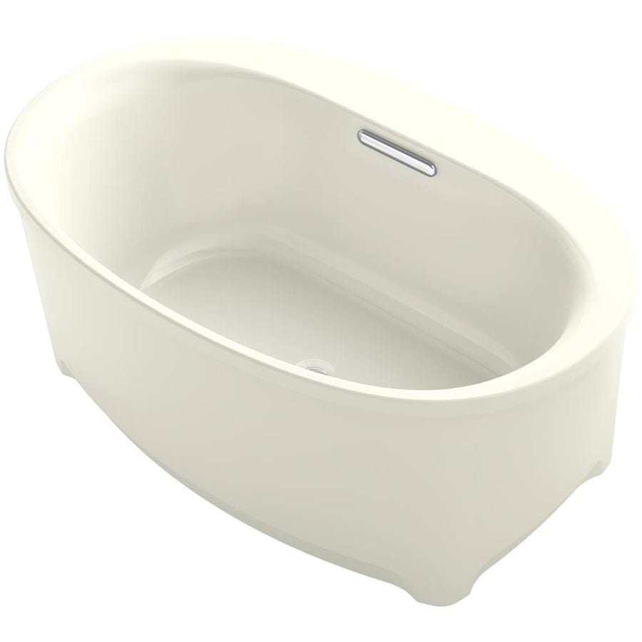KOHLER Underscore Biscuit Acrylic Oval Freestanding Bathtub with Center Drain (Common: 36-in x 60-in; Actual: 24.375-in x 35.75-in x 60-in)